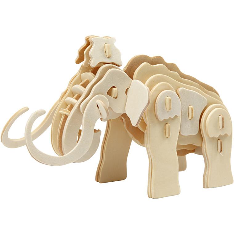3D konstruktionsfigur, mammut, str. 19x8,5x11 cm, krydsfiner, 1stk.