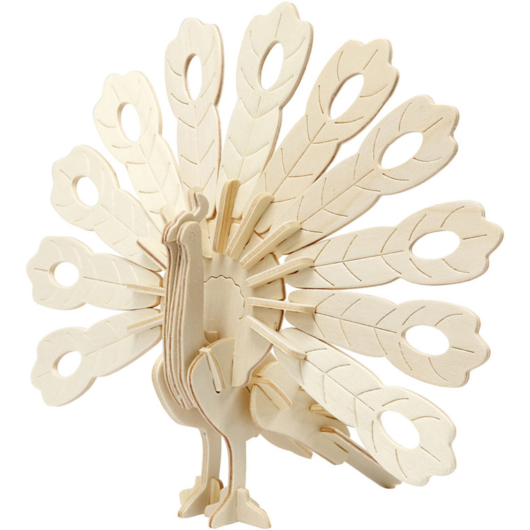 3D konstruktionsfigur, påfugl, str. 10x20,5x17,5 cm, krydsfiner, 1stk.