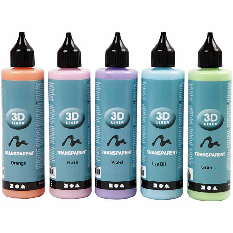 3D Liner, transparente farver, 5x100ml