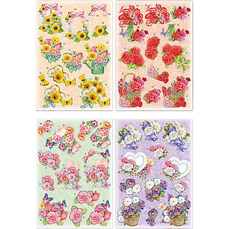 3D Motiver, ark 21x30 cm, blomster, 4ark