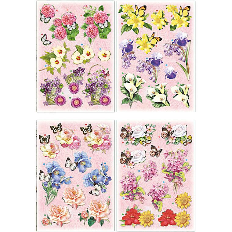 3D Motiver, ark 21x30 cm, blomster og sommerfugle, 4ark