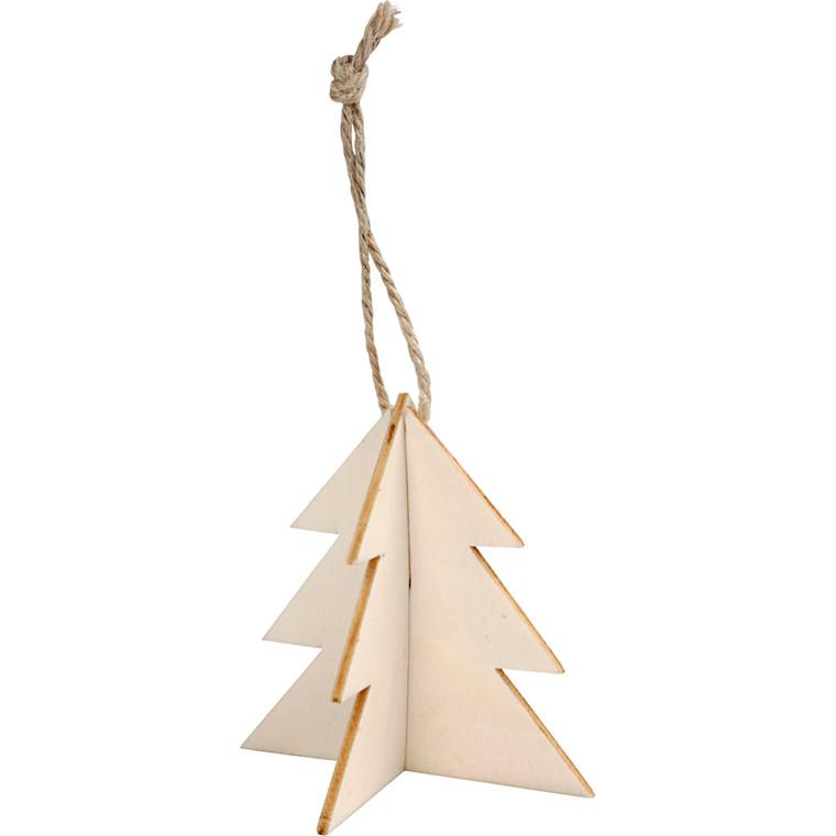 3D ophæng størrelse 7,5 x 7,5 cm tykkelse 2 mm juletræ - 3 sæt