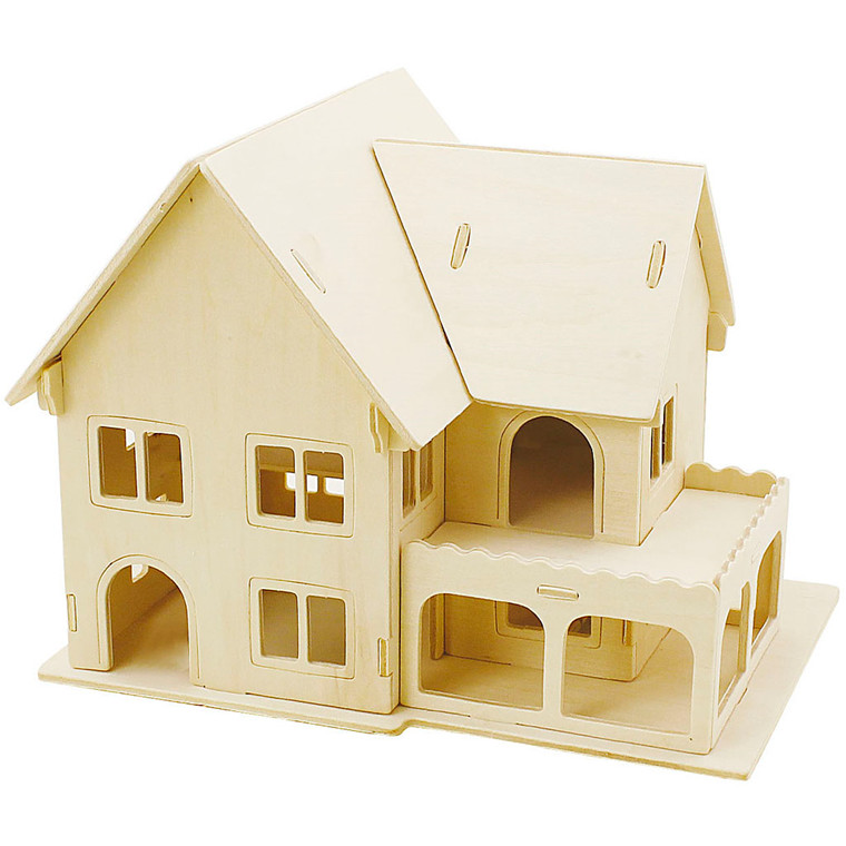 3D Puslespil Hus med veranda størrelse 22,5 x 16 x 17,5   krydsfiner