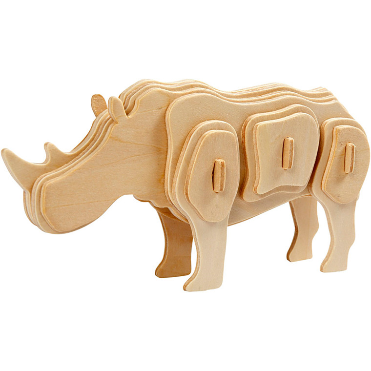 3D Puzzle 16 x 4 x 8 cm krydsfiner   næsehorn