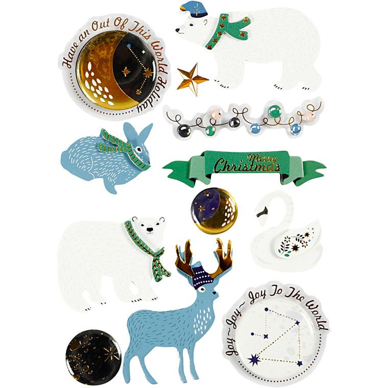 3D stickers, H: 10-40 mm, B: 15-60 mm, polar stemning, 11stk., tykkelse 7 mm