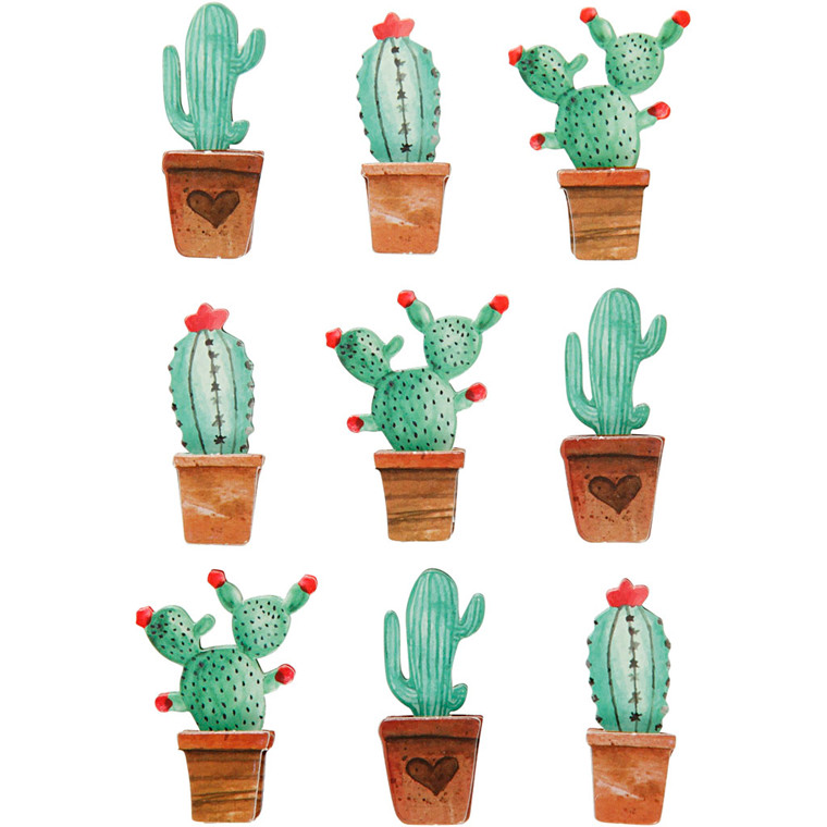 3D Stickers, H: 45 mm, B: 15-26 mm, kaktusser, 9stk., tykkelse 7 mm