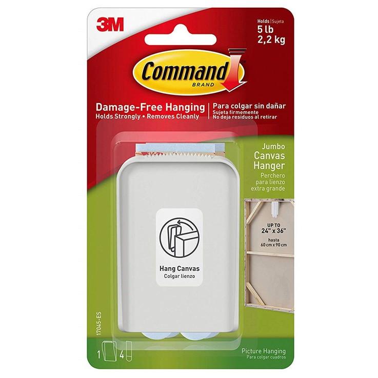 3M Command ekstra stort lærredsophæng, hvid, 1 ophæng + 4 strip