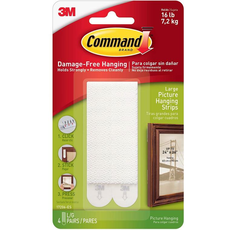 3M Command strips til billedophæng, hvid, 4 x 2 store strips, 7