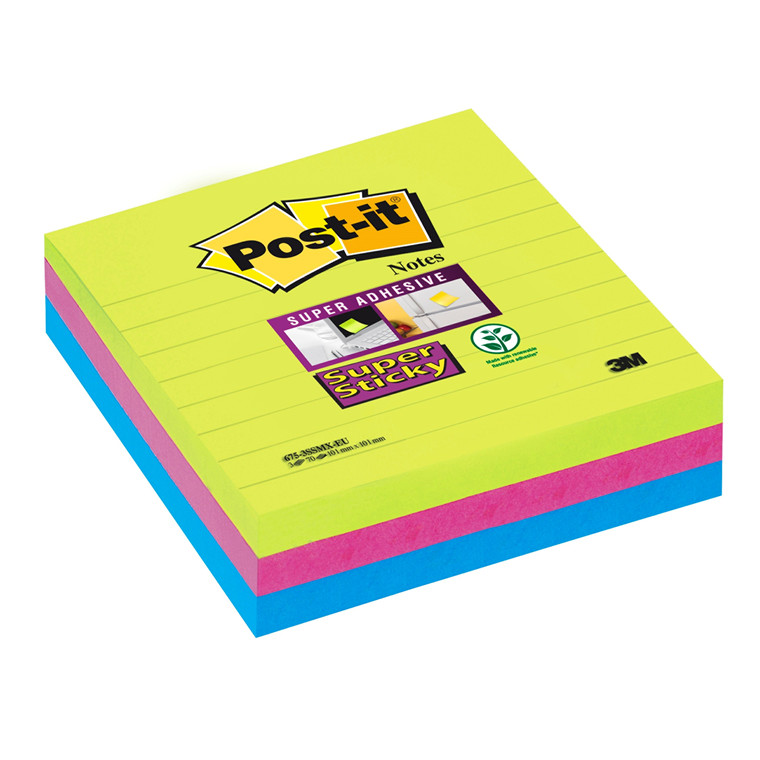 Post it Super Sticky Notes Rainbow 101 x 101 mm linjeret - 3 blokke