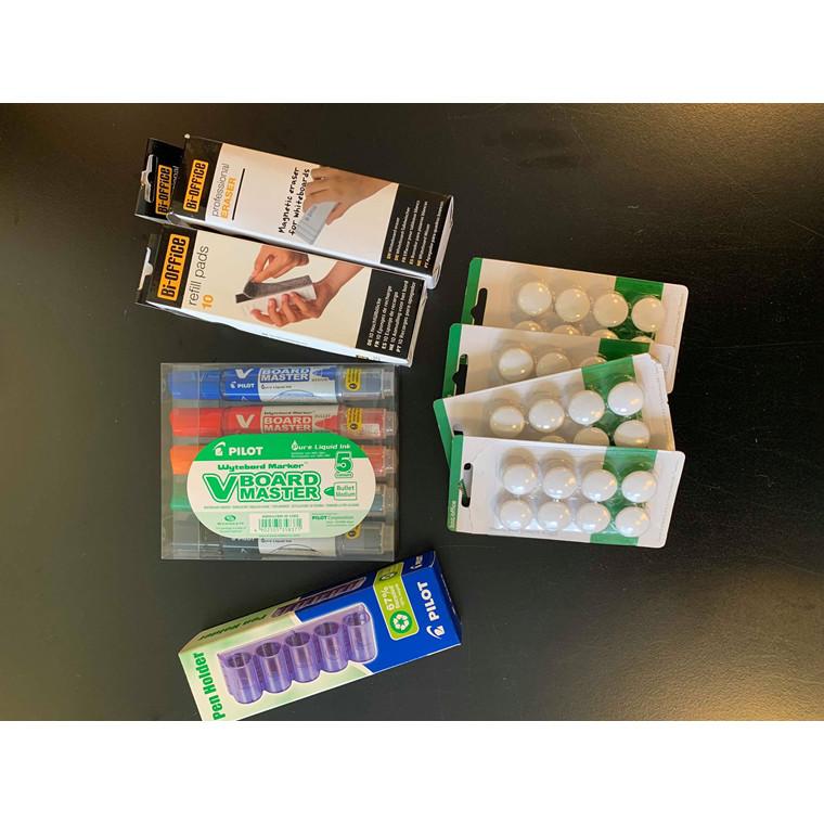 Whiteboard pakke 2 - Pilot, holder, tavlevisker, refill og magneter