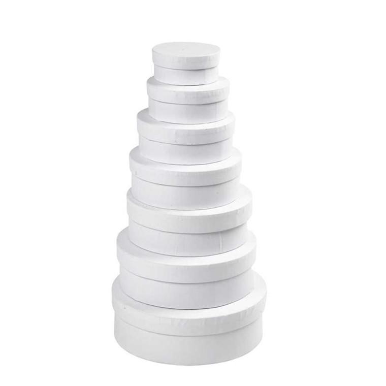7-i-1 runde æsker i assorteret størrelser hvid | 7 stk.