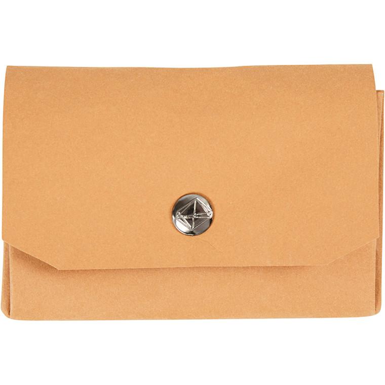 Lysbrun Pung af læderpapir 11 x 8 cm - Med 3 rum - 1 stk