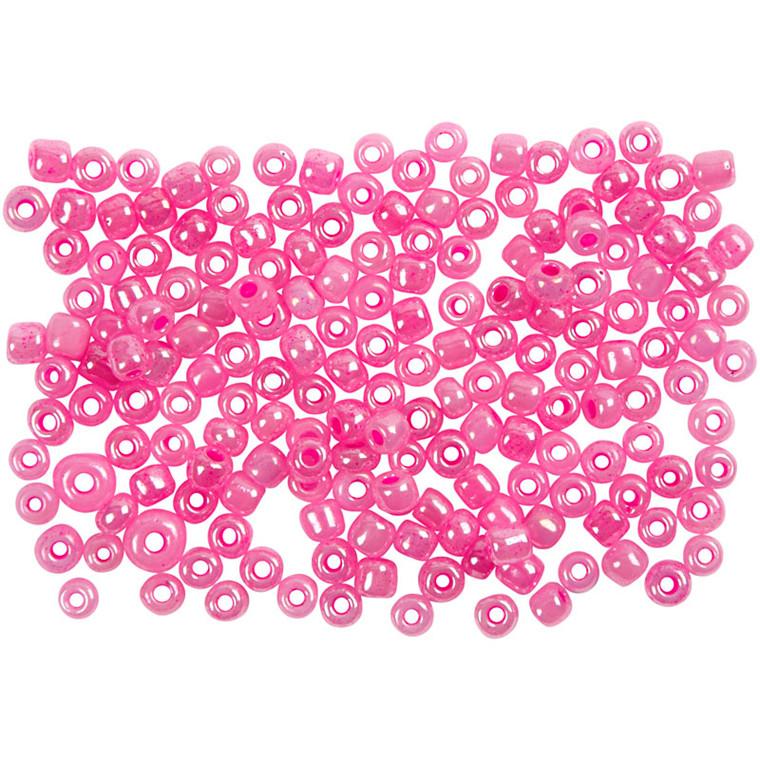 Rocaiperler, dia. 3 mm, hulstr. 0,6-1,0 mm, pink, 25g, str. 8/0