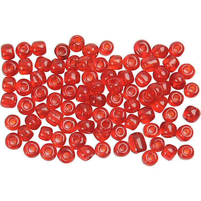 Rocaiperler, dia. 4 mm, hulstr. 0,9-1,2 mm, klar rød, 25g, str. 6/0