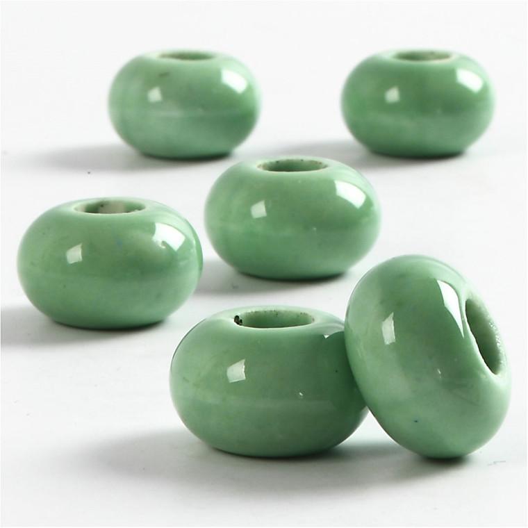 Keramik Link, dia. 15 mm, H: 9 mm, grøn, rund, 6stk., hulstr. 5,5 mm