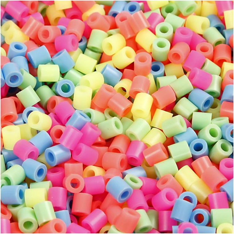 Rørperler størrelse medium 5 x 5 mm - hulstr. 2,5 mm - pastelfarver - 1100 assorteret