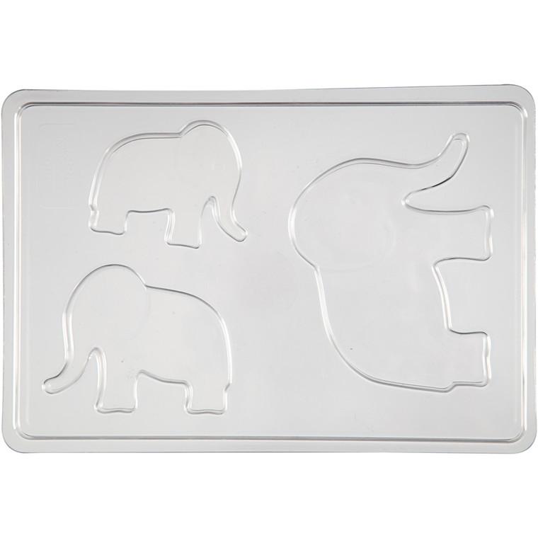 Støbeform, str. 6+8+10 cm, udv. mål 14,9x22 cm, elefant, 1stk.