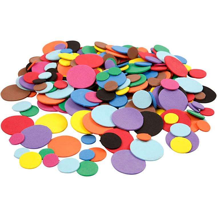 Mosgummi cirkler diameter 12+20+32 mm assorteret farver | 300 stk.