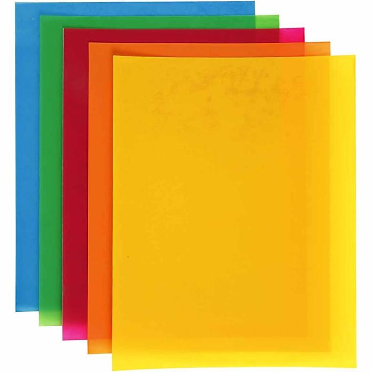 Krympeplast, ark 20x30 cm, stærke farver, 10ass. ark