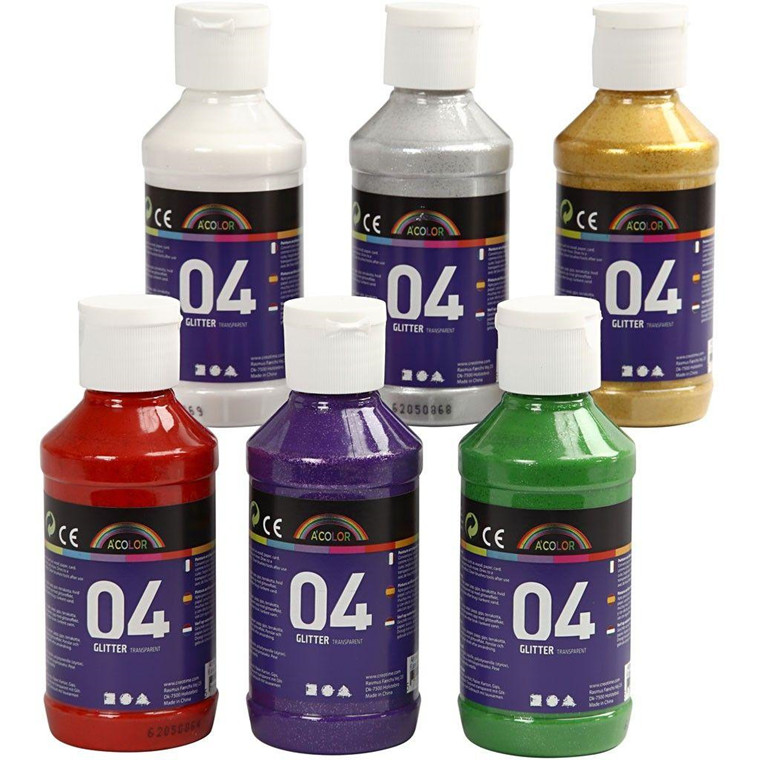 A-Color akrylmaling, ass. farver, 04 - glitter, 6x120ml