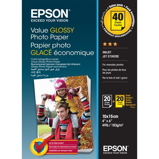 Epson - 10 x 15 cm Value Photo Papir - 20 ark x 2