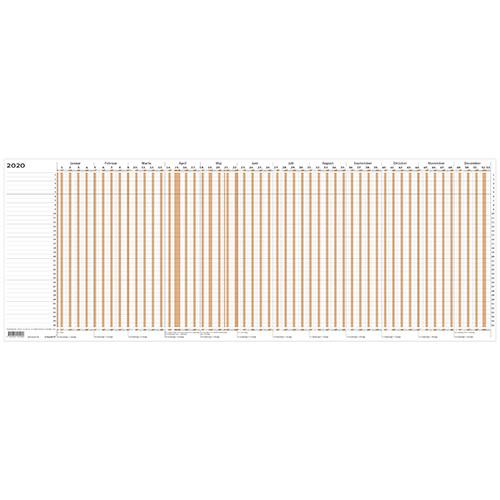 Projektplanner 2020 Mayland brun 80 x 30 cm falset til A4 - 20105000