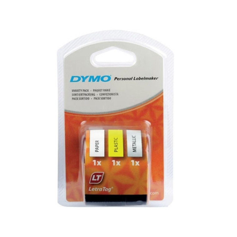 DYMO LetraTAG S0721800 - Labeltape start pakke hvid/gul/sølv