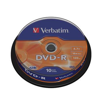 Verbatim DVD-R General, 16X, Branded Matt Silver (10)