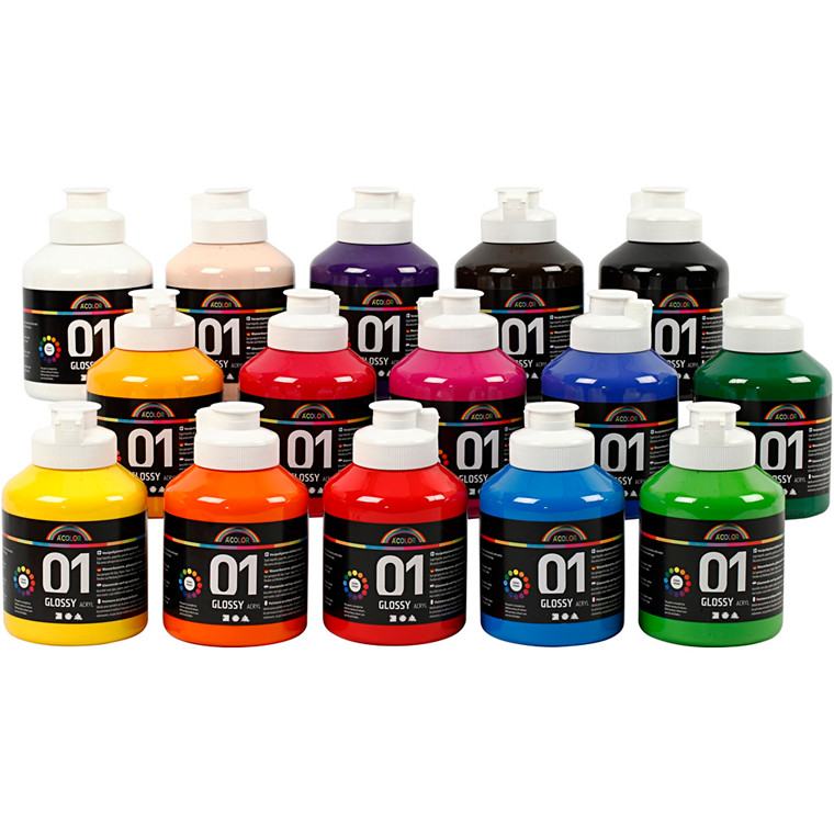 A-Color - Akrylmaling - assorteret farver - 01 blank - 15x500ml
