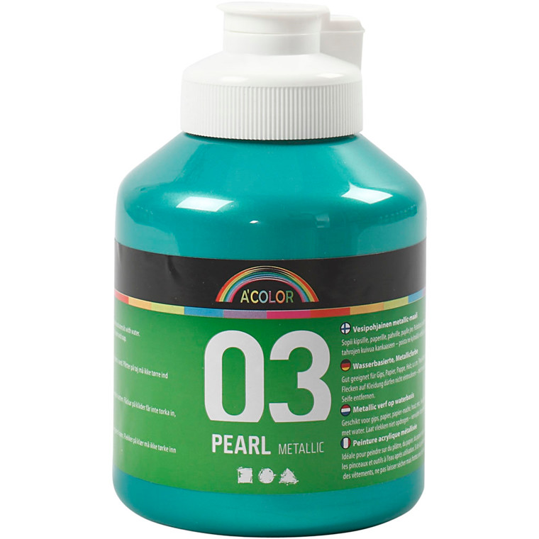 Akrylmaling A-Color, grøn, 03 - metallic, 500ml