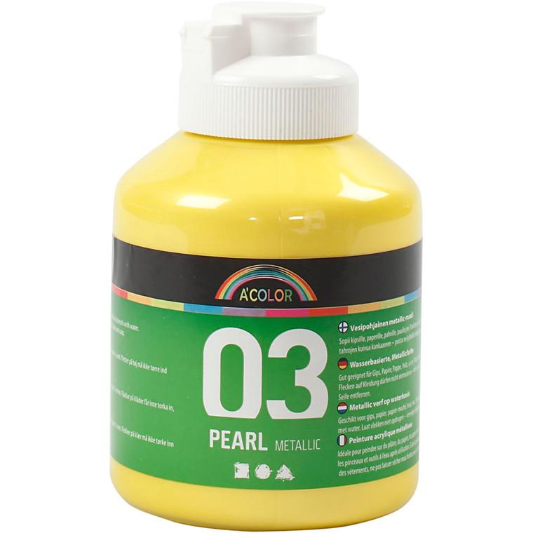 A-Color akrylmaling, gul, 03 - metallic, 500ml