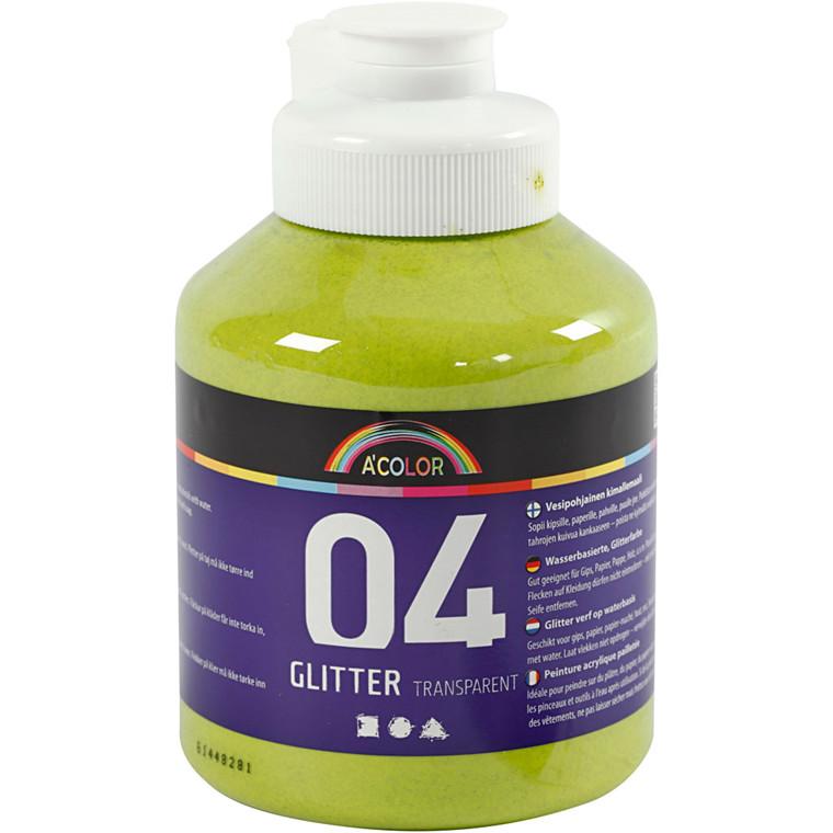 A-Color akrylmaling, limegrøn, 04 - glitter, 500ml
