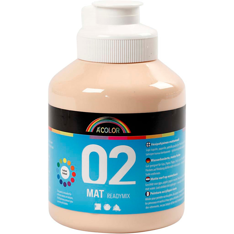 Akrylmaling lys hudfarvet 02 - mat plakatfarve A-Color 500 ml