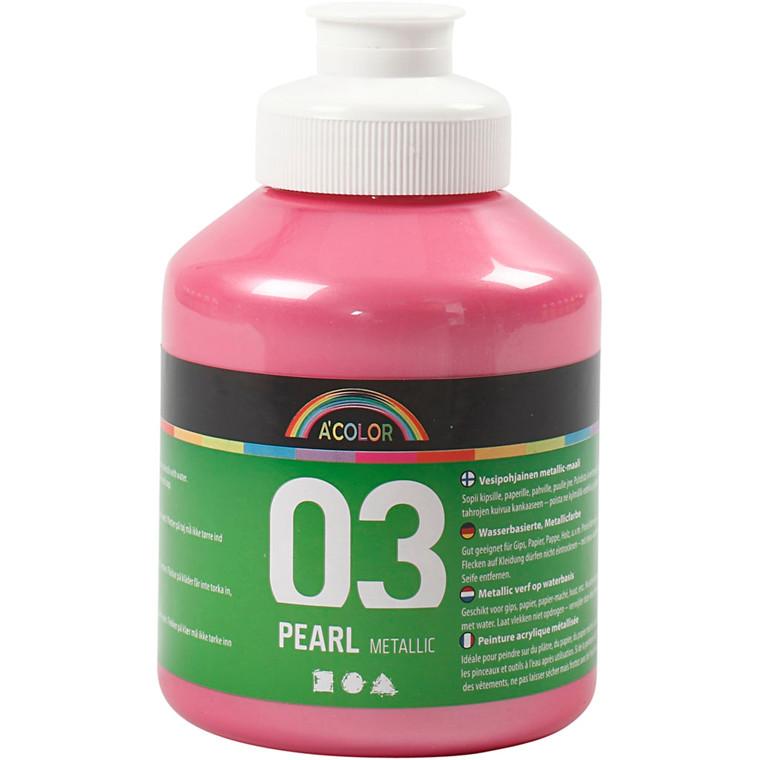 Akrylmaling A-Color, lyserød, 03 - metallic, 500ml