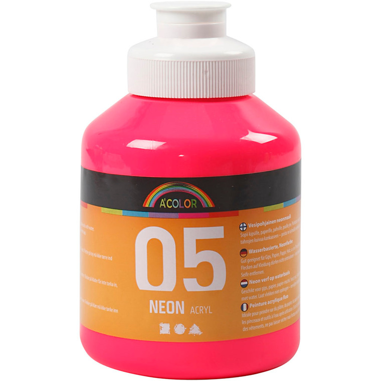 A-Color akrylmaling, neon pink, 05 - neon, 500ml