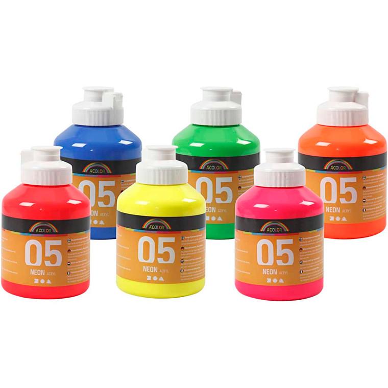 Sæt akrylmaling forskellige neonfarver 05 A-Color - 6 x 500 ml