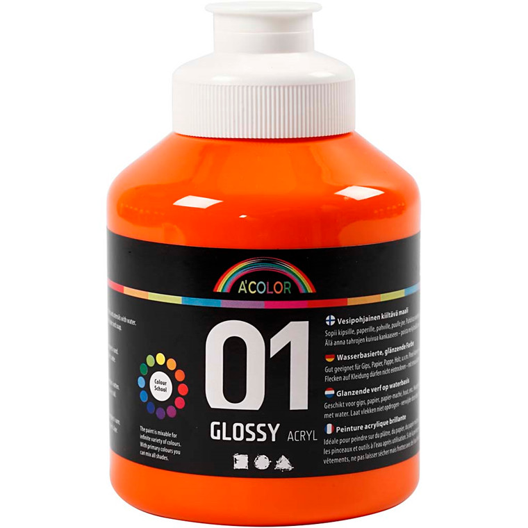 A-Color akrylmaling, orange, 01 - blank, 500ml