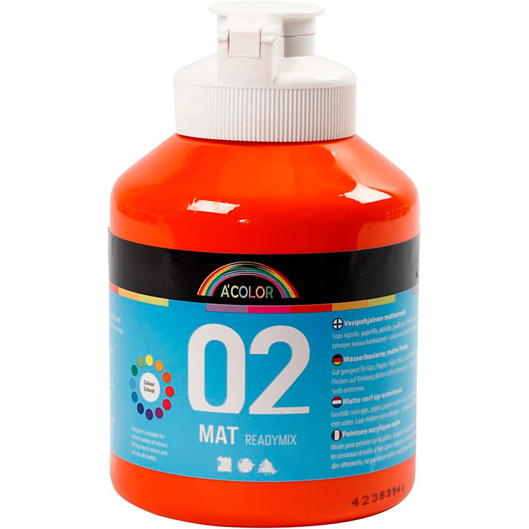 A-Color akrylmaling, orange, 02 - mat (plakatfarve), 500ml