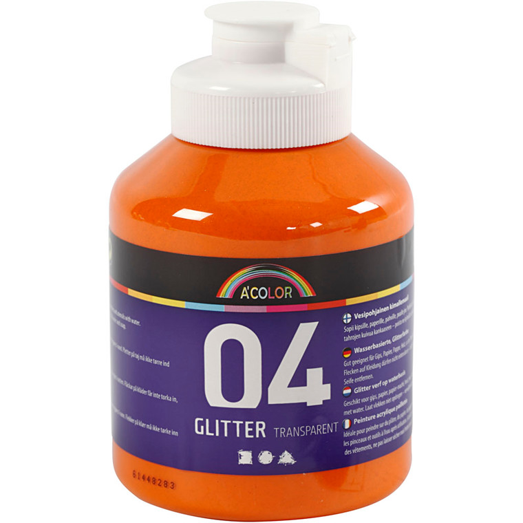 Akrylmaling A-Color, orange, 04 - glitter, 500ml