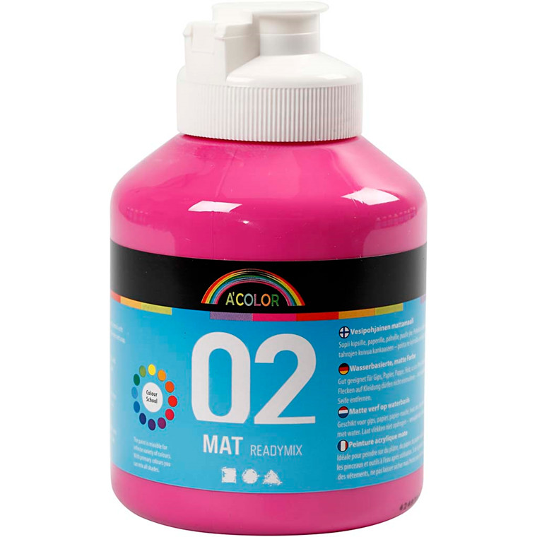 A-Color akrylmaling, pink, 02 - mat (plakatfarve), 500ml