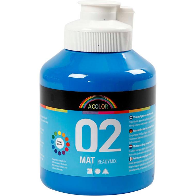 Akrylmaling A-Color, primær blå, 02 - mat (plakatfarve), 500ml