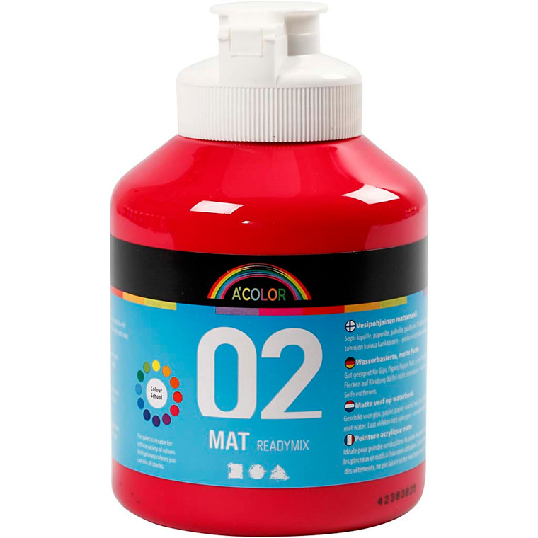 Akrylmaling A-Color, primær rød, 02 - mat (plakatfarve), 500ml