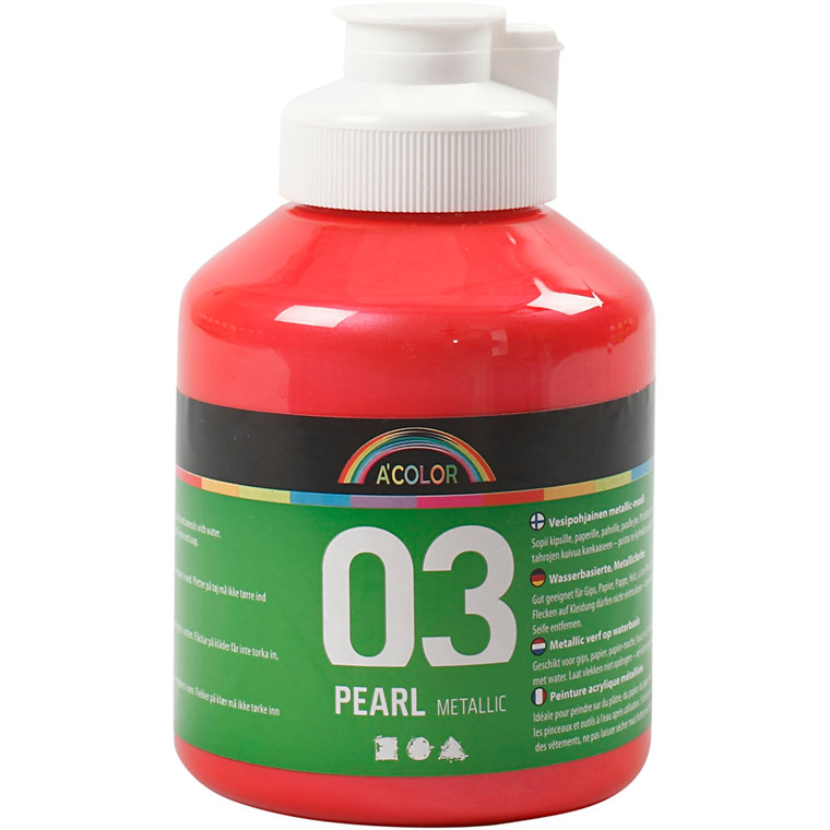 Akrylmaling A-Color, rød, 03 - metallic, 500ml
