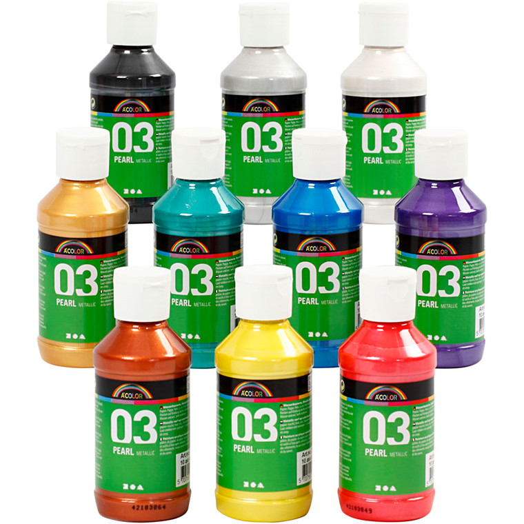 Akrylmaling A-Color - sortiment, 03 - metallic, 10x120ml