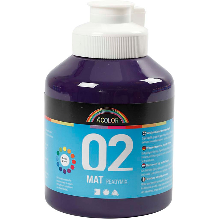 A-Color akrylmaling, violet, 02 - mat (plakatfarve), 500ml