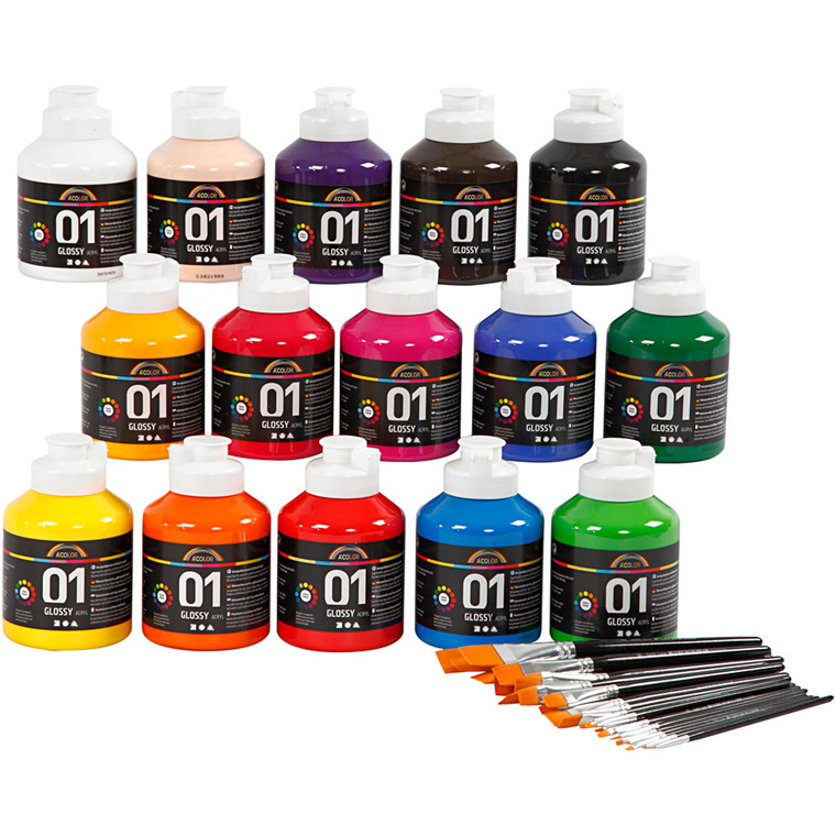 A-Color blank akrylmaling, ass. farver, klassesæt, 1sæt