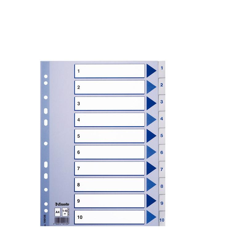 A4 faneblade 1-10 Esselte - Hvide plastfaner og kartonforblad
