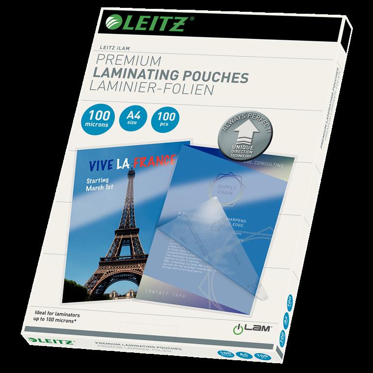 A4 Lamineringslomme 100 mic UDT gloss Leitz | 100 stk