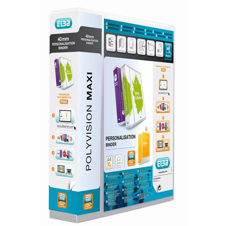 A4 Maxi indstiksringbind hvid med 60 mm ryg og 4 ringe - Elba Maxivision