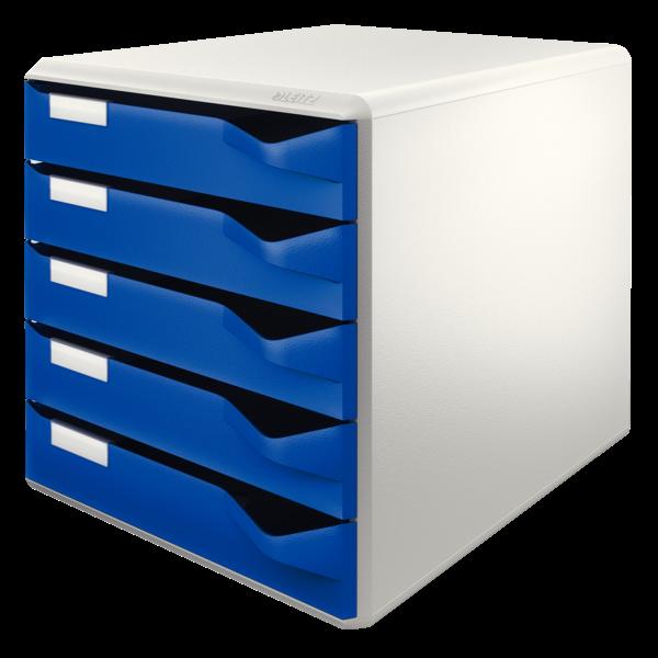 A4 skuffekabinet med 5 blå skuffer - Leitz Post